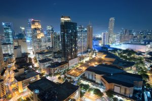 40928001 - eleveted, night view of makati, the business district of metro manila.